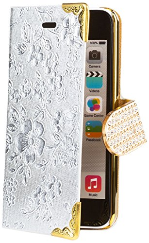 iCues Apple iPhone 5C |  Chrom Blumen Tasche Silber | [Display Schutzfolie Inklusive] Floral Strass Glitzer Glitter Luxus Bling Damen Frauen Mädchen Chrome Book Klapphülle Schutz Etui Handytasche zum