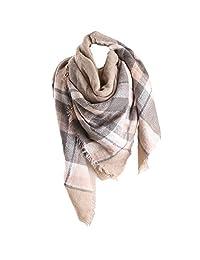 RACHAPE Women Elegant Warm Blanket Scarf Plaid Wrap Shawl Winter