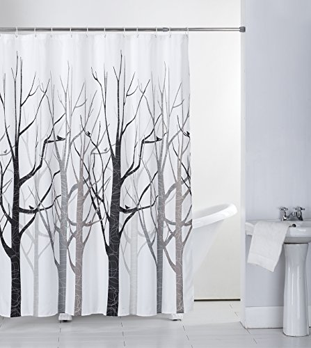 "Shower Curtain Fabric Grey Tree with Hooks Bath Curtain Waterproof, 72x72 INCH - 1, 100% Polyester, include 12 rust metal grommets with a reinforced top-header,12 Plastic Hooks , Measures 72"" x 72""(180CM*180CM) 2,SUPERIOR QUALITY, DURABLE SHOWER CURTAIN: Our shower curtain is made from expertly chosen and thoroughly tested polyester fabric, which is made to withstand moisture-rich bathroom environments. it is sure to compliment any bathroom setting and providing an unparalleled, upscale look 3,Healthy Shower Curtain: Simply the safest shower curtain for you and your family. A quick rinse and clean up with water or a damp cloth - shower-curtains, bathroom-linens, bathroom - 51sOagjAZyL -"