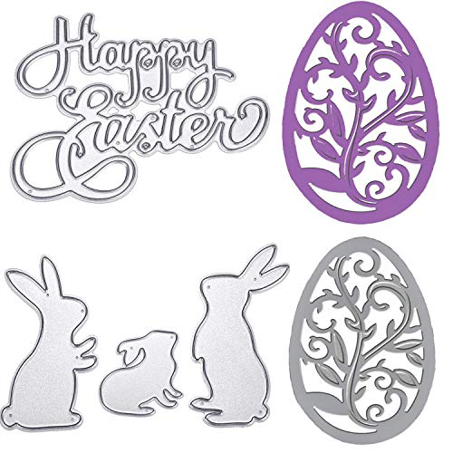 TuoShei Eater Cutting Dies Happy Easter Letter and Bunny Rabbit Metal Stencil Template for DIY Scrapbook Album Paper Card Embossing, 5 Pieces Totally (Style 1) (New)