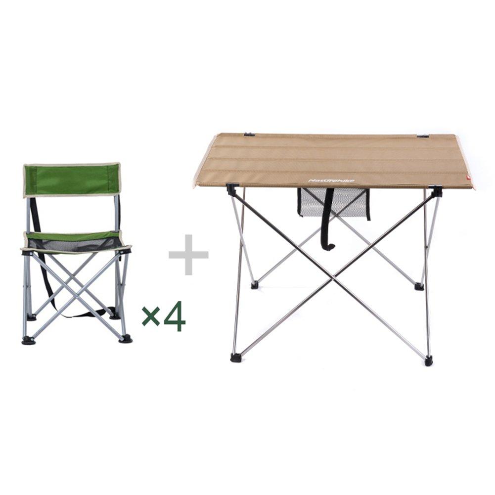QIANGDA 屋外/アウトドア 折りたたみ テーブル4つの椅子があります 持ち運びが簡単 耐久性のある アルミニウム合金 ポータブル 4人、 2色展開 オプション (色 : カーキ) B07CTNKHMD カーキ カーキ