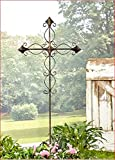 EASTER METAL CURVED SCROLL CROSS YARD STAKE