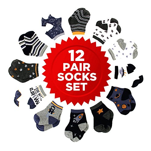 (Rising Star Baby Boys Assorted Color Designs 12 Pair Socks Set, Multi-Color, Age 0-24M (6-12 Months, Space Design Collection))