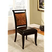 Furniture of America Sahrifa Padded Leatherette Side Chair, Acacia/Black Finish