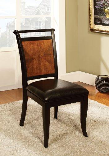 Furniture of America Sahrifa Padded Leatherette Side Chair, Acacia/Black Finish ()