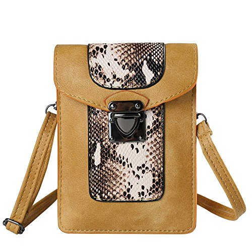 VanGoddy Snake Skin Design Vertical Crossbody Bag Wallet carring case pouch for Samsung Galaxy Mega 2 3 / Galaxy S7 Edge / S6 Active / S6 Edge+ Plus / Galaxy J3 J5 J7 / Grand Prime (Apricot)