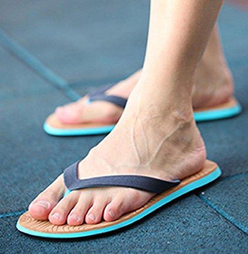 Sagton Menn Blokkeringsfrie Sandaler Peep-toe Flat Flip Flops Sandstrand  Bad Tøfler Sko Blå ...