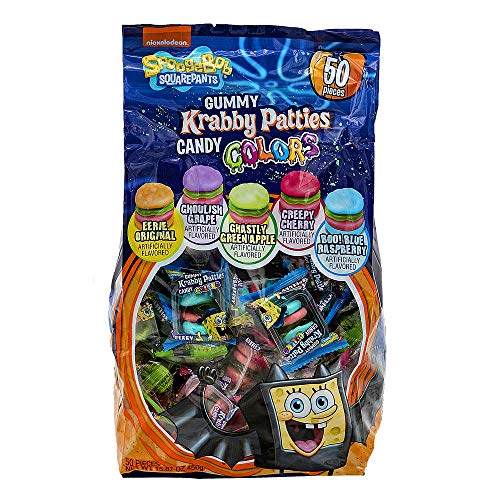 Gummy Krabby Patty (Frankford (1) Bag Spongebob Squarepants Gummy Krabby Patties Colors - Assorted Flavors & Colors - Original, Grape, Cherry, Blue Raspberry, Green Apple - 50 Pieces Halloween Candy - Net Wt.)