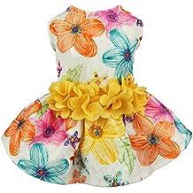 Fitwarm Floral Dog Harness Dress Pet Clothes D-ring Vest Shirts Sundress Yellow Medium