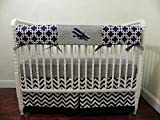 Nursery Bedding, Bumperless Baby Crib Bedding Set Orville - Airplane Crib Bedding, Baby Boy Bedding, Teething Rail Guard, Navy Chevron and Gray Bedding - Choose Your Pieces