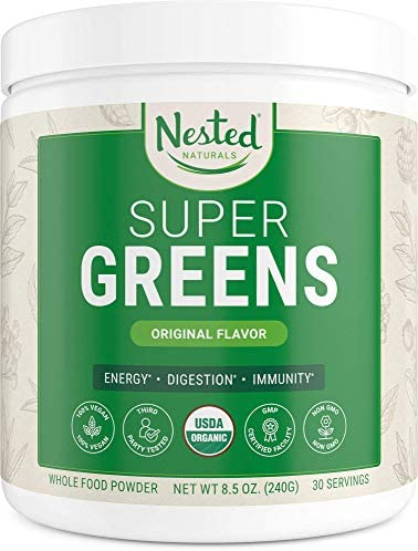Super Greens 1 Green Superfood Powder 100 USDA Organic Non-GMO Vegan Supplement 30 Servings 20 Whole Foods Spirulina