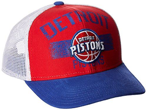 NBA Detroit Pistons Men's Downtown Trucker Meshback Hat, Red, One Size