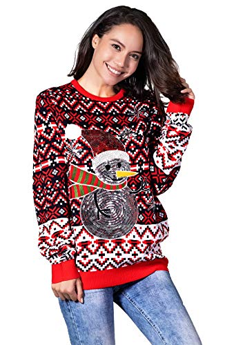 (Women's Funny Sequin Snowman Xmas Pullover - Go Snow Fabulous, X-Small)