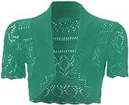 Women's Knitted Bolero Shrug Short Sleeve Crochet S