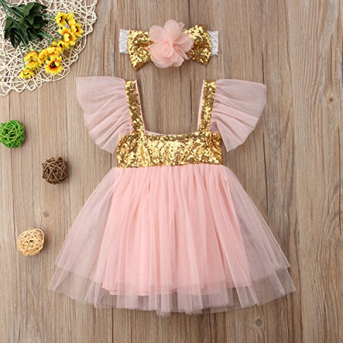 Toddler Kids Baby Girls Knitted Tulle Cap Tutu Dresses Jersey Dress Outfit 9-18months, White