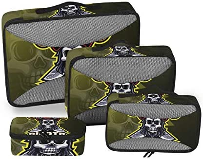 パイレーツゴールデンスカル荷物パッキングキューブオーガナイザートイレタリーランドリーストレージバッグポーチパックキューブ4さまざまなサイズセットトラベルキッズレディース