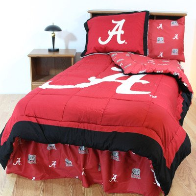 NCAA Alabama Tide Bed in a Bag with Team Colored Sheets, Twin (86'' x 66'' x 2''), Crimson by College Covers