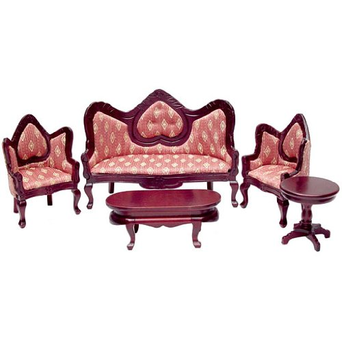 Aztec Imports, Inc. Dollhouse Miniature 5-Pc. Gothic Revival Living Room Set (Miniature Set Room Living)