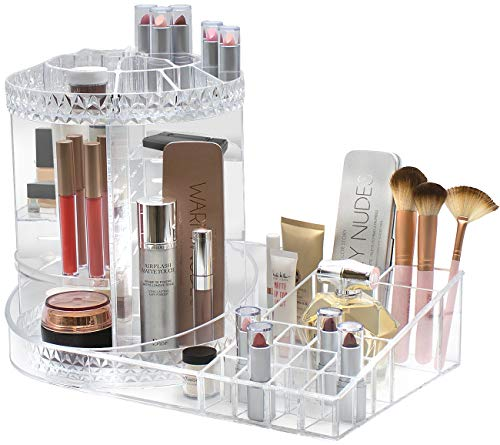 Acrylic Brush Display Assortment - Sorbus Rotating Makeup Organizer Station Nail Bar, 360° Rotating Adjustable Carousel with Tray, Storage for Cosmetics, Skincare, Nail Polish, etc — Great for Vanity, Bathroom, Bedroom, Closet (Clear)