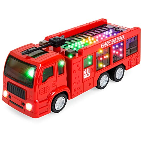 - Zviku Self Driving Bump and Go Fire Engine Rescue Truck Toy for Boys & Girls with Beautiful 3D Lights and Sounds - Great Gift for Kids Age 3 - 8 yrs Old