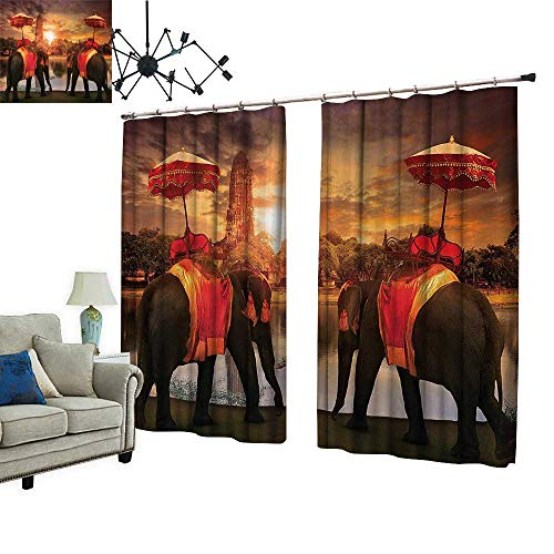 Sun Blocking Curtains with hookElephants Dressing Traditial Costumes Standing in frt of Pagoda Patience Sage Provides Utmost Privacy,W84.3 xL84.3 -