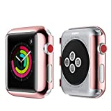 for iWatch 42mm Protector Case HP95(TM) Durable Use Ultra-Slim Electroplate PC Hard Case Cover For Apple Watch Series 3/2 42mm (Rose Gold)