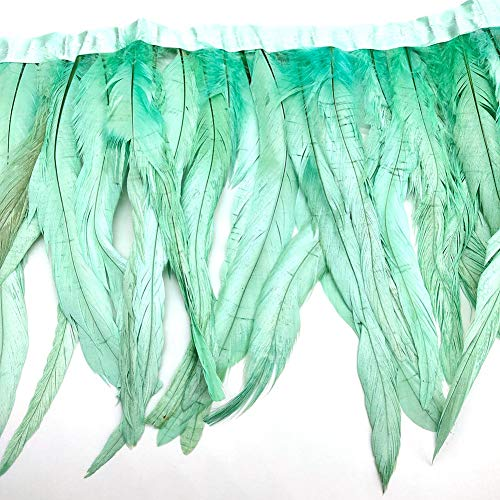 Natural Rooster Tail Feathers Fringe Trim (Mint Green)