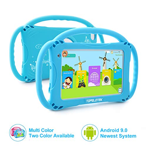Kids Tablet 7 Android Kids Tablet for Toddlers Kids Friendly Learning Tablet with WiFi Camera Children's Tablets Android 9.0 1GB + 16GB Parental Control with Shockproof Case (Blue)