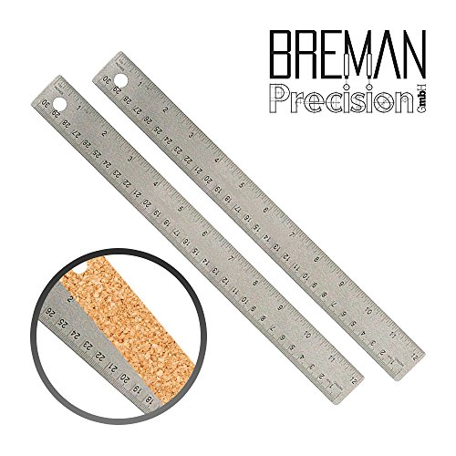 12 Inch Stainless Steel Metal Ruler 2Pack- Set of 2 12 Inch High Grade Stainless Steel Flexible Ruler with Non Slip Cork Base for Excellent Precision and Accuracy (2 Pack) (Features Cork Base)