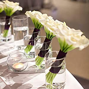 GTIDEA 20Pcs Fake PU Calla Lily Artificial Flowers Bride Wedding Bouquet for Table Centerpieces Arrangements Home DIY Garden Office Decor (White) 3