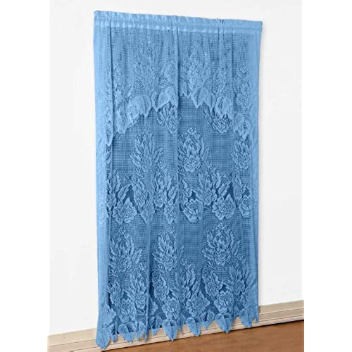 Carol Wright Gifts Lace Panel With Valance Blue