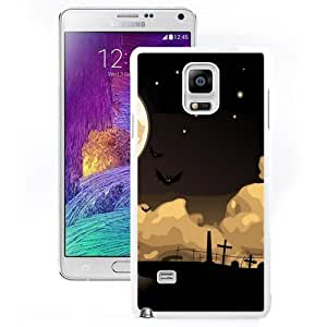 DIY and Fashionable Cell Phone Case Design with Halloween Night Cemetery Bats Galaxy Note 4 Wallpaper in White