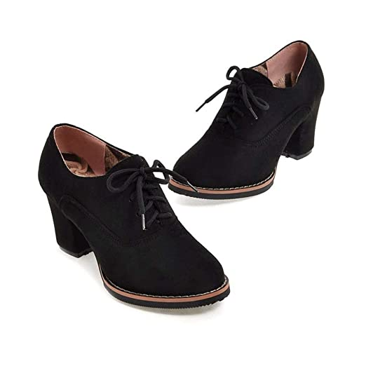 741a4985ff2cd Amazon.com: Women Ankle Booties Lace up High Thick Square Chunky ...