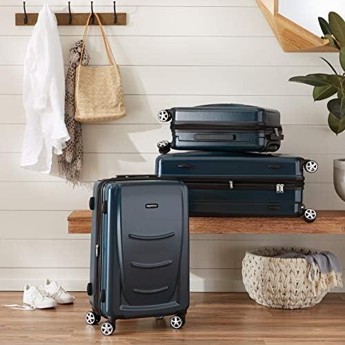 Amazon Basics Hard Shell Carry On Spinner Suitcase Luggage - 22 Inch, Navy Blue