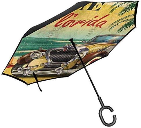 フロリダへようこそ ユニセックス二重層防水ストレート傘車逆折りたたみ傘C形ハンドル付き