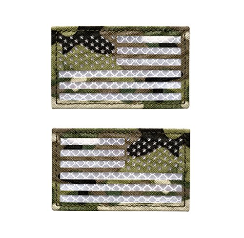 Baotu 2x3.5 Reflective Multicam USA US American Flag Patch Tactical Vest Patch Morale Fastener Patch Hook/Loop Forward and Reversed (1 Left + 1 Right)