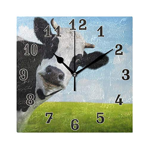WXLIFE Cute Animal Milk Cow Square Acrylic Wall Clock, Silent Non Ticking Art Painting for Kids Bedroom Living Room Office School Home Decor