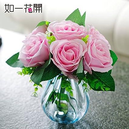 Xin Pang Emulación De Flores Artificiales Flores Rosas Flores De Plástico Transparente De Vidrio Jarrones Boutonniere