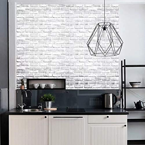 Yancorp White Gray Brick Wallpaper Grey Self-Adhesive Contact Paper Home Decoration Peel and Stick Backsplash Wall Panel Door Stickers Christmas Decor (18''x394'') by Yancorp (Image #3)