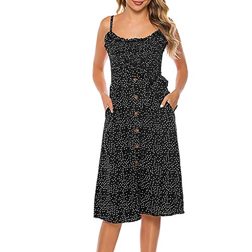 Dresses for Women Polka Dot Loose Swing Casual Short T-Shirt Dress Spaghetti Strap Button Down Midi Dress with Pockets Black (Work Boots For Tree Trimmer)