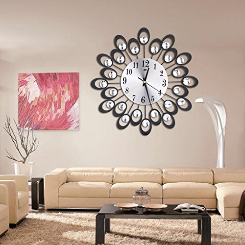 cici store Modern Metal Wall Clock - Diamond Rhinestone Iron Art