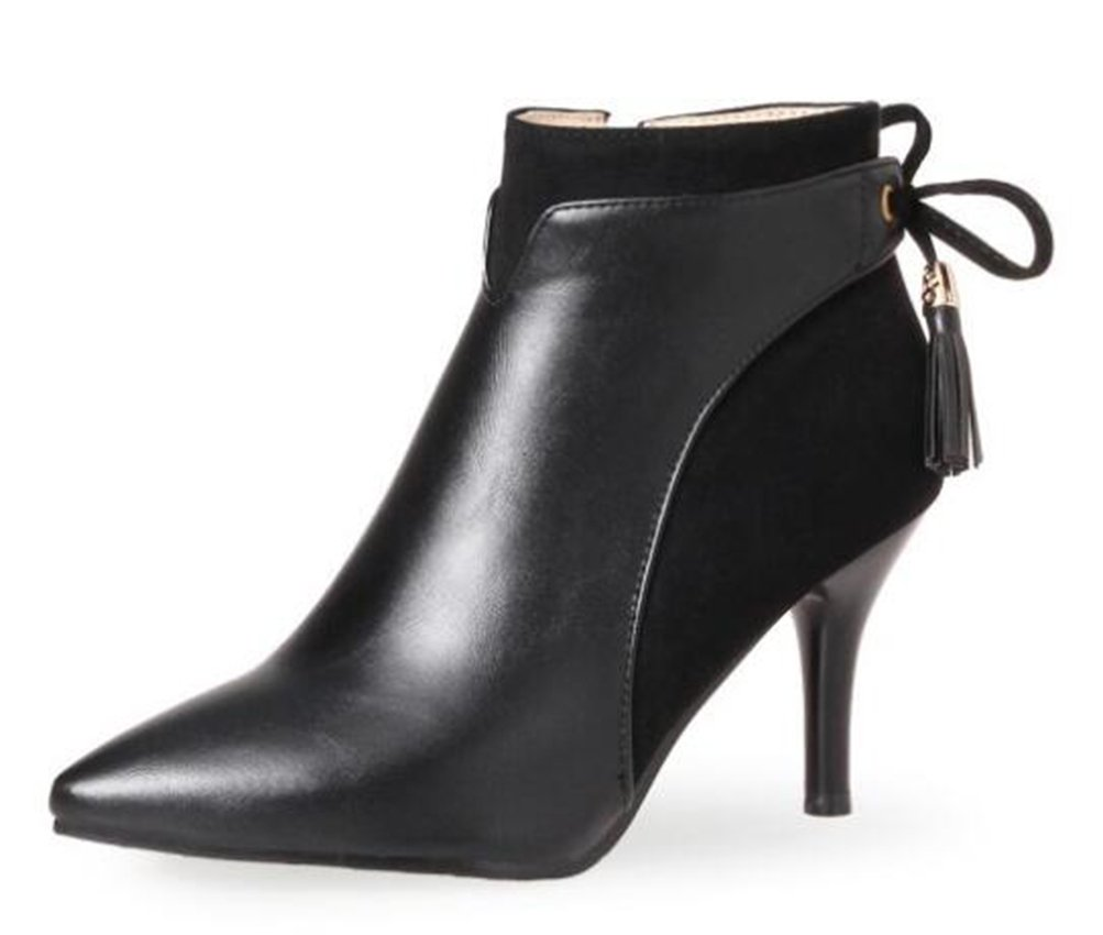 Easemax Damen Elegant Spitze Zehe Kurzschaft Schleife Stilettos Ankle Boots Pumps  40 EU|Schwarz