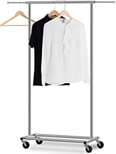 Bextsware Clothes Rack Multi-Function Garment Rack, Heavy Duty Commercial Grade Clothes Rolling Rack on Wheels with Expandable Collapsible Clothing Rack,Holds up to 150 lbs,Chrome