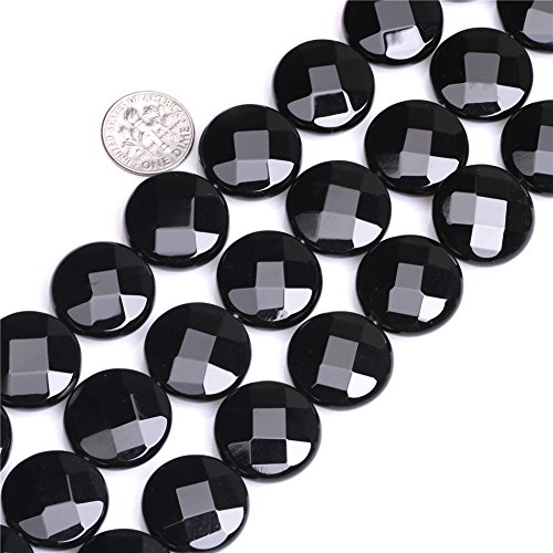 - 20mm Coin Faceted Gemstone Black Agate Beads Strand 15 Inches Jewelry Making Beads