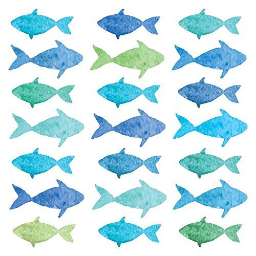 """Paperproducts Design PPD 1332800 Aquarell Fish Lunch Paper Napkins, 6.5"""" x 6.5"""", Multicolor"""