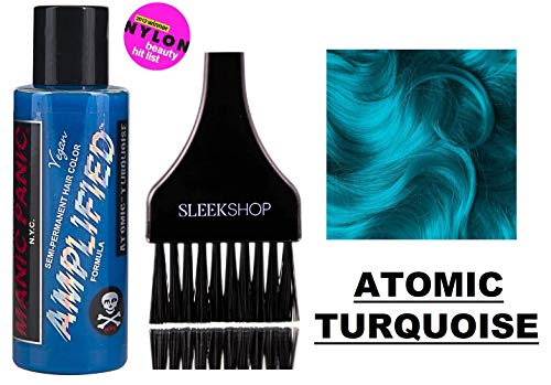 MANIC PANIC AMPLIFIED Formula Semi-Permanent HAIR COLOR Cream N.Y.C. (w/Sleek Tint Brush) Tish & Snooky's VEGAN High Voltage Haircolor Dye 4 oz / 118 ml (Atomic Turquoise)
