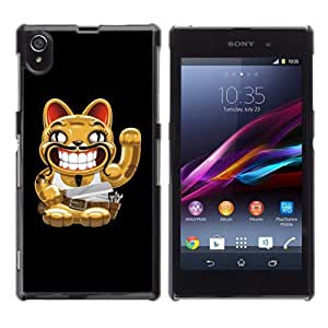 YOYOSHOP [Funny Cat With Moustache] Sony Xperia Z1 L39h Case