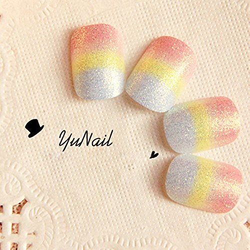 Pretty Rainbow Color Short Fake Nails 24 Pcs Oval Full Light Red Yellow and White Glitter Artificial Nails with Glue Sticker YuNail
