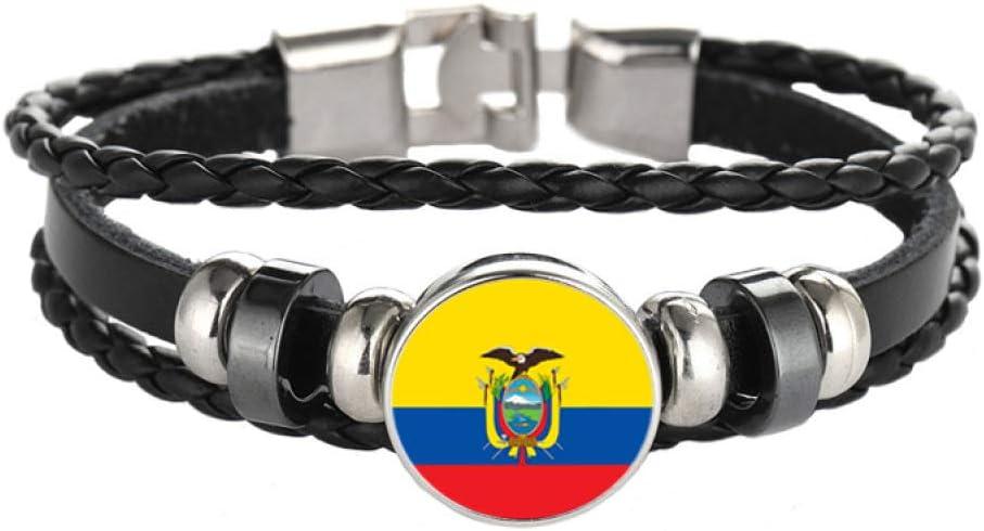 Pulsera,Vendimia Tejidas a Mano Multicapa Cuero Pulsera,Fútbol Tema Esposas por Hombres Mujer Multa Obra/Ecuador/Ajustable