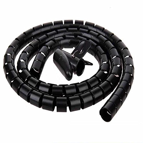 30 mm Plastic Environmentally-friendly Insulation Flame-retardant Flexible Spiral Tube Cable Wire Wrap Computer Manage Cord Black 1.5 Meter Length, with Clip